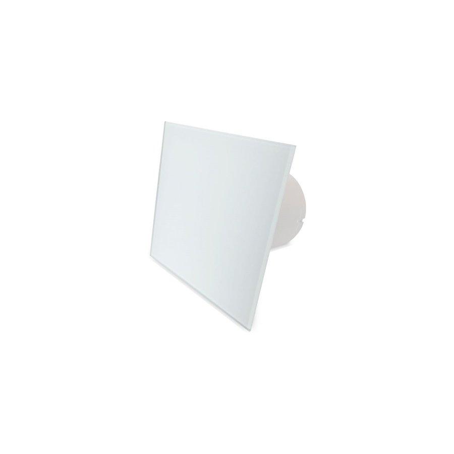 Badkamer Ventilator Pro Design Standaard Trekkoord 125mm 170 m3 Vlak Glas Wit Mat