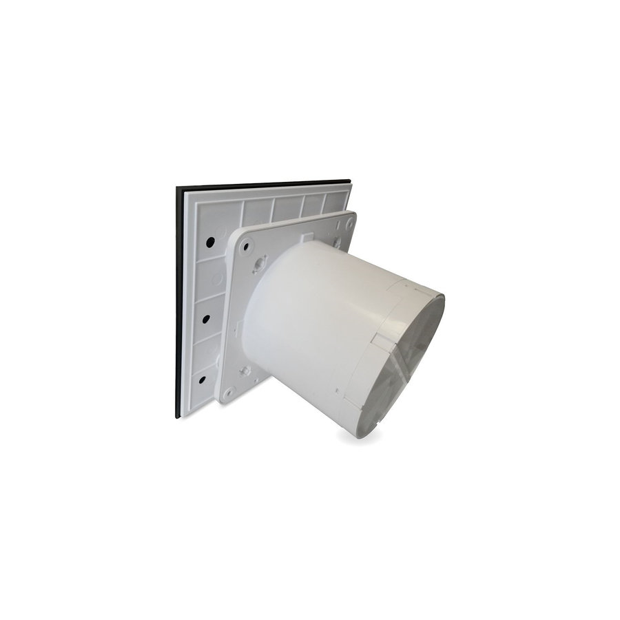 Badkamer Ventilator Pro Design Standaard Trekkoord 125mm 170 m3 Vlak Glas Zwart Mat