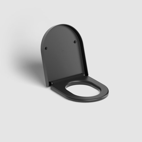 Clou Hammock Toiletzitting Met Deksel Met Soft Closing Systeem en Quick Release Systeem Mat Zwart 36x43x5.1cm