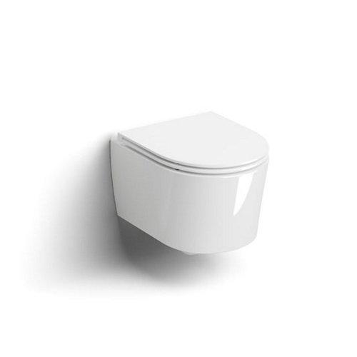 Clou InBe 1 Wandtoilet 48cm Incl Zitting Met Deksel Soft Closing En Quick Release Systeem Glanzend Wit Keramiek 36.5x48x38.1cm