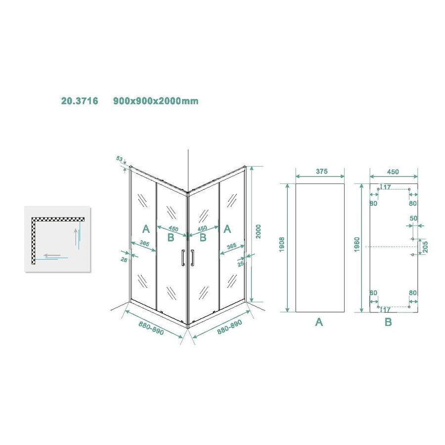 Douchecabine Wiesbaden Skyline Hoekinstap + 2 Schuifdeuren 90x90x200 cm 8mm Helder Glas NANO Coating Mat Zwart