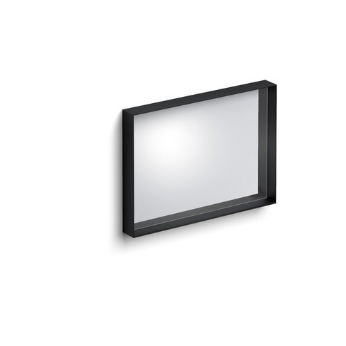 Clou Look At Me Spiegel Met Omlijsting Mat Zwart En Inleg Planchet In Glas 70x8x50cm