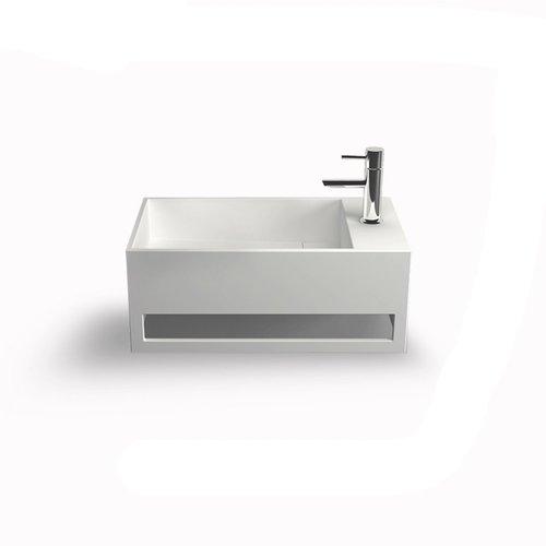 Fontein Bellezza Bagno Orvieto met Handdoekhouder Solid Surface 50x30x20 cm (kraangat rechts)