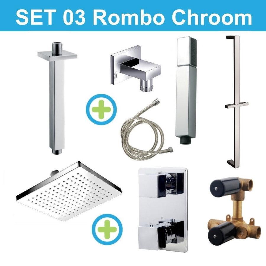 Wiesbaden inbouw regendouche set 03 Rombo Chroom