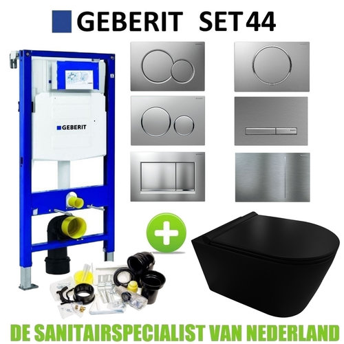 Geberit UP320 Toiletset set44 Civita Black Rimless Mat Zwart Met Sigma Drukplaat