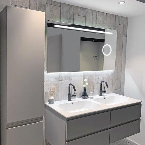 Badkamerspiegel Xenz Desenzano 90x70cm met Ledverlichting, Spiegelverwarming en Make-Up Spiegel