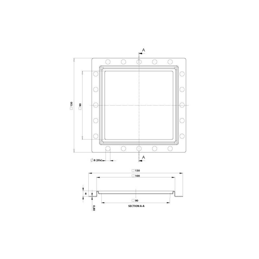 Renovatievloerput Rooster Aquaberg Met 1 Aansluiting 10x0.8 cm RVS