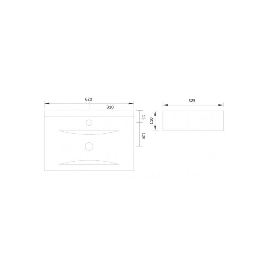 Wastafel Begee Rechthoek zonder overloop 62x32,5x11cm