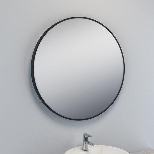 Ronde Wandspiegel Van Marcke Circolare 80x80 cm Glas En Zwart Metalen Kader