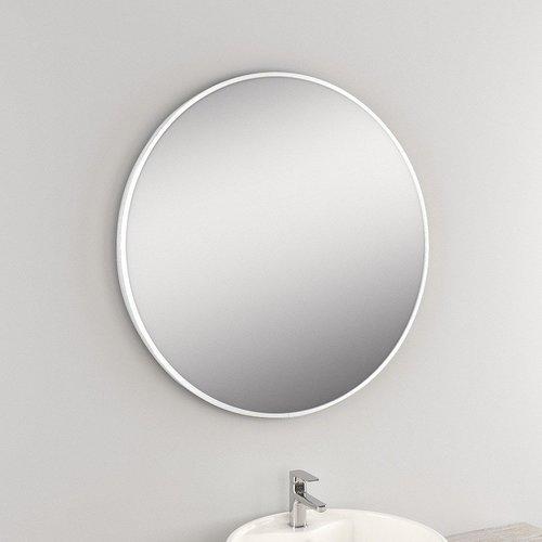 Ronde Wandspiegel Van Marcke Circolare 60x60 cm Glas En Wit Metalen Kader
