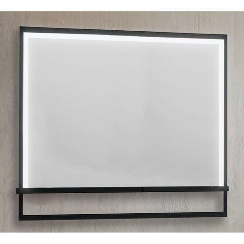 Badkamerspiegel Casajoy 100x70cm met Planchet, Ledverlichting en Anticondens Zwart