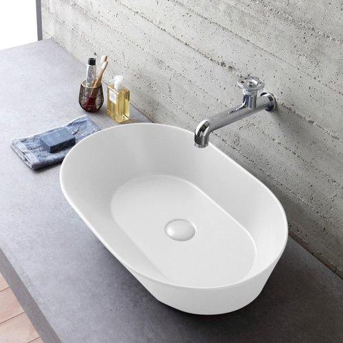 Waskom By Goof Mees Design Opbouw Wastafel Ovaal 60x42 cm Mat Wit
