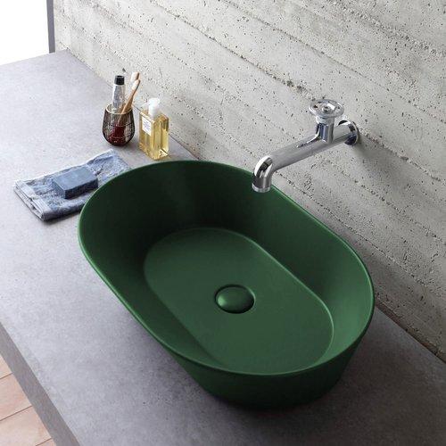 Waskom By Goof Mees Design Opbouw Wastafel Ovaal 60x42 cm Mat Groen