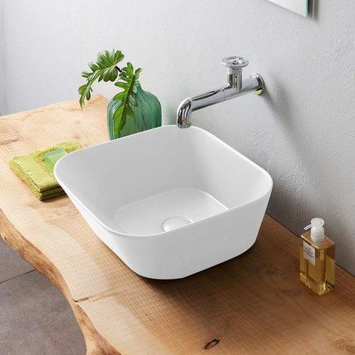 Waskom By Goof Mees Design Opbouw Wastafel Vierkant 42x42 cm Mat Wit