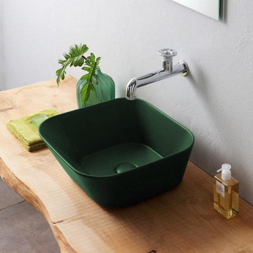Waskom By Goof Mees Design Opbouw Wastafel Vierkant 42x42 cm Mat Groen