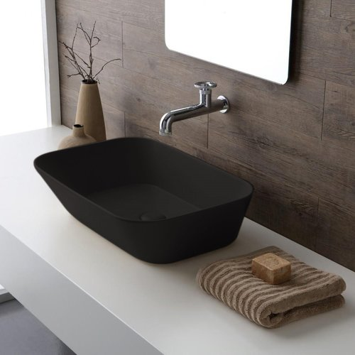 Waskom By Goof Mees Design Opbouw Wastafel Rechthoek 60x42 cm Mat Zwart