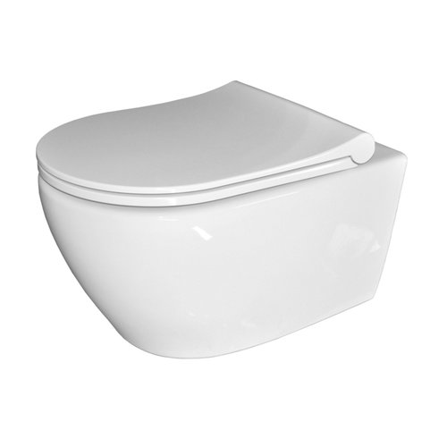 Wandcloset Sanicare Rondo Compact Rimfree Met Bidetsproeier Keramiek Incl Slim Zitting Wit 51x36 cm