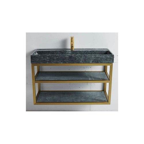Badkamermeubel Casajoy Gold 100x42x55cm Met Natuurstenen Wastafel