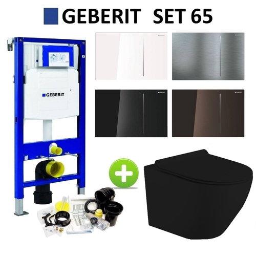 Geberit UP320 Mat Zwart Toiletset set65 Mudo Randloos met Sigma 70 Drukplaat