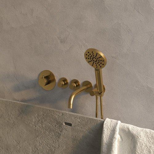 Badkraan Inbouw Set Brauer Gold Edition Thermostatisch met Uitloop en Handdouche 3-Standen Geborsteld Goud