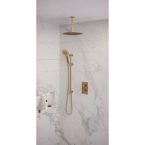 Regendoucheset Inbouw Brauer Gold Edition Thermostatisch 30cm met 3-Weg Omstelling, Plafondarm, Glijstang en Handdouche 3-Standen Geborsteld Goud