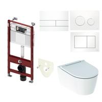 TECE Profile Inbouwreservoir Toiletset Geberit ONE Rimless Diepspoel Turboflush Wit met drukplaat