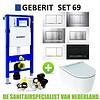 Geberit Geberit UP320 Toiletset set69 Geberit ONE Rimless Diepspoel Turboflush Wit met Sigma 30 drukplaat