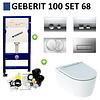 Geberit Geberit UP100 Toiletset set68 Geberit ONE Rimless Diepspoel Turboflush Wit Met Delta drukplaat