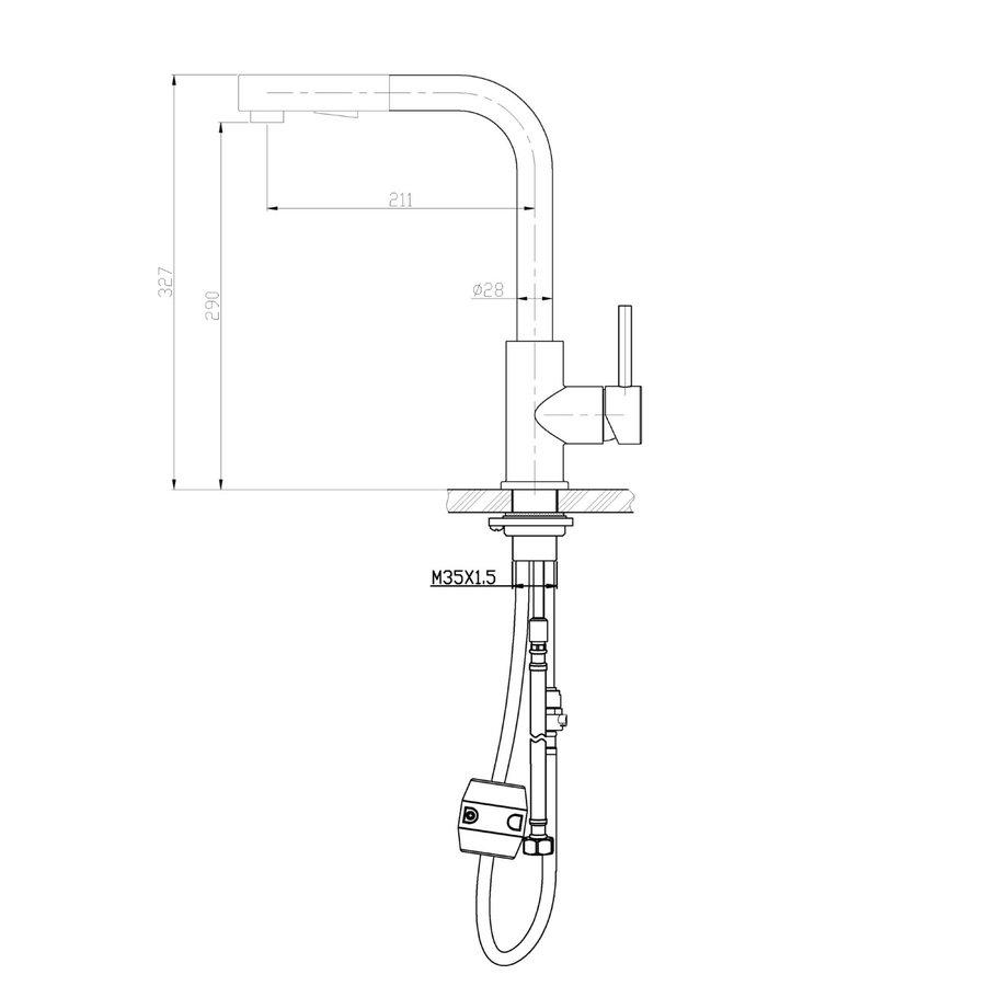 Keukenkraan Aqua Splash Nine Inclusief Uittrekbare Handdouche RVS