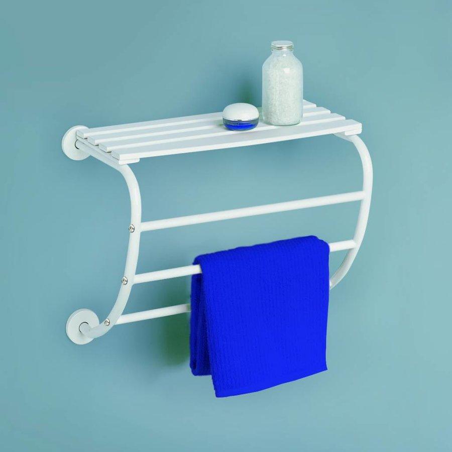 Corfou hangende handdoekhouder voor muurbevestiging met 3 stangen en houten aflegplateau wit