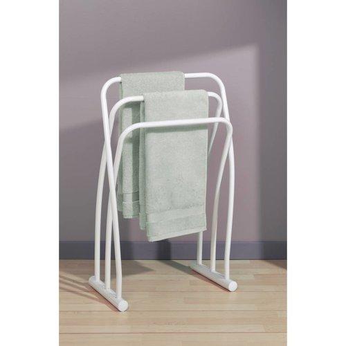 Hendaye staande handdoekhouder met 3 stangen wit