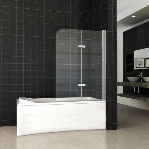 2-Delige Inklapbare Badwand 100X140 Cm 6 Mm Nano Glas