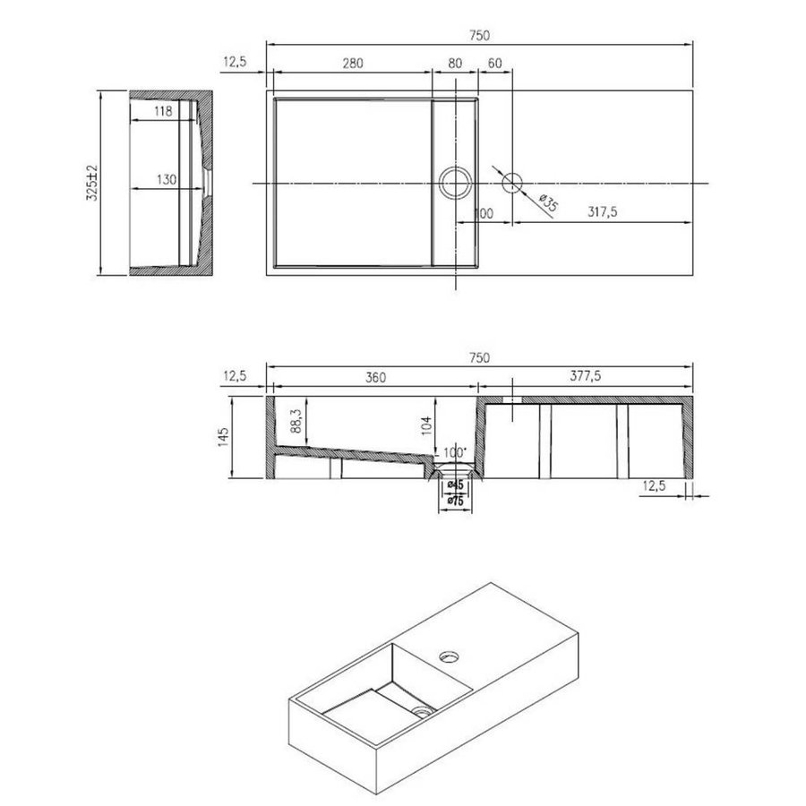 Wastafel N75 Just Solid 75x33x15cm (Kraangat rechts)