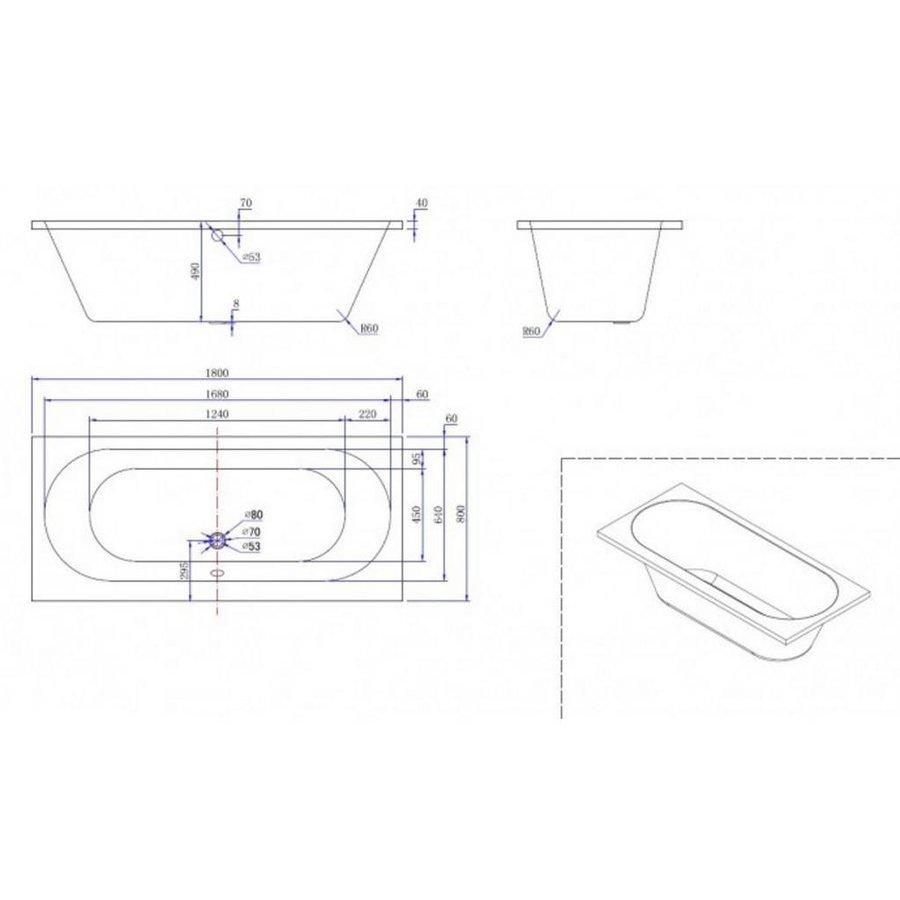 Ligbad Duo Wodan Inbouw 180X80X50 Cm Wit