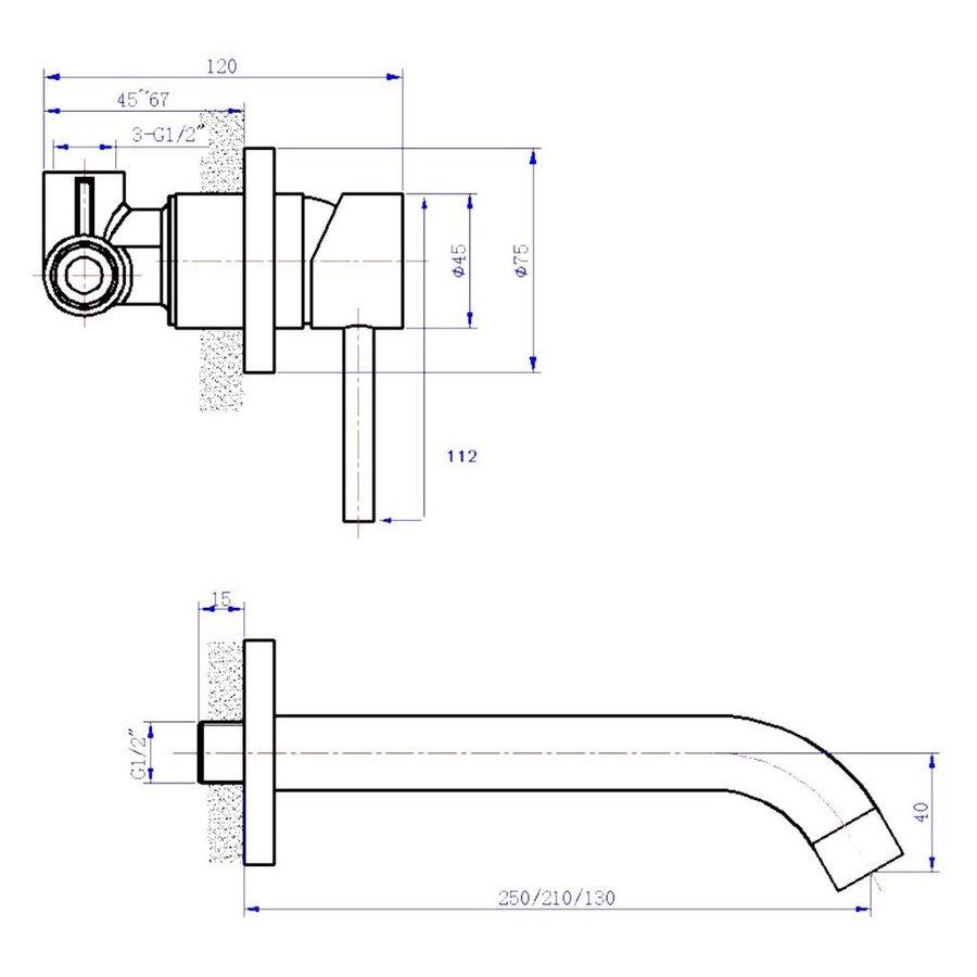 Wastafelwandkraan ORE inbouw met 25cm uitloop RVS Look