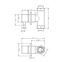 Stopkraan Ore Inbouw 1/2 inch RVS