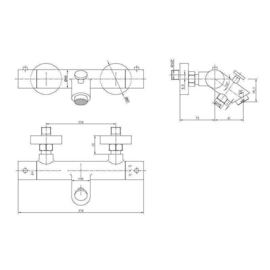 Badthermostaat kraan Ore High-Plus Opbouw RVS