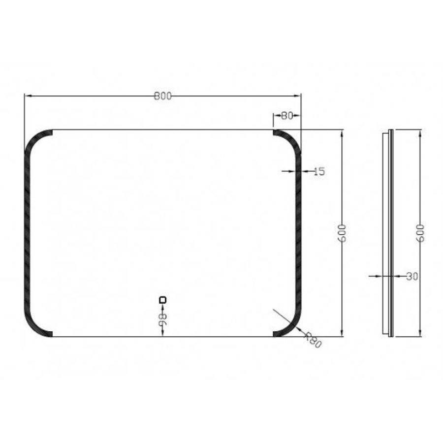 Spiegel Bracket Dimbare Led 60X80 Cm