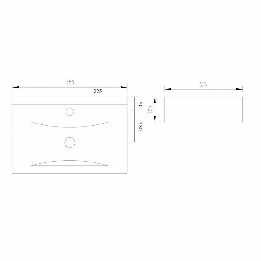 Wastafel Train rechthoek keramiek 45x30,5x10 cm