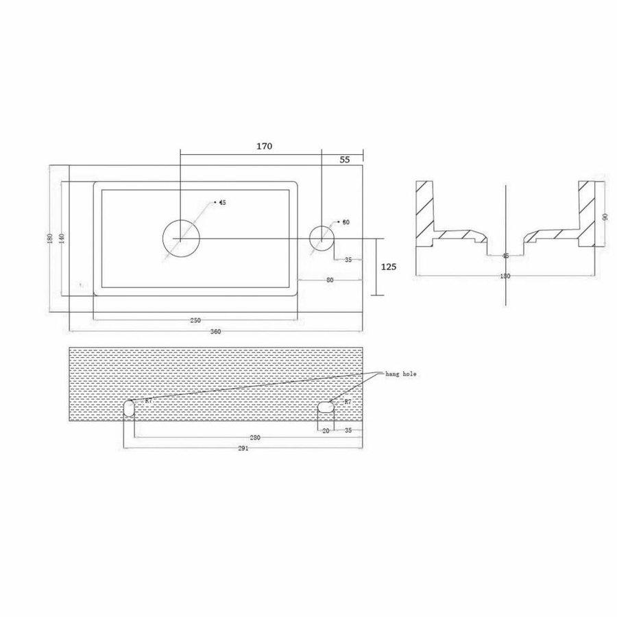 Fonteinset Mini Block One Pack links 36x18cm