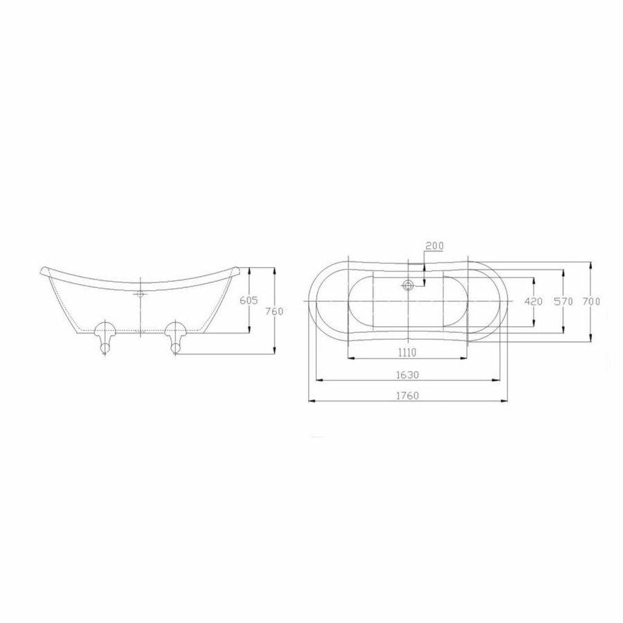 Nostalgisch vrijstaand bad Double-Ended-Slip 175x72x79 cm glans wit
