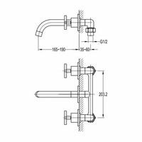 Wastafelkraan New Jax 3-gats Inbouw Wandmodel