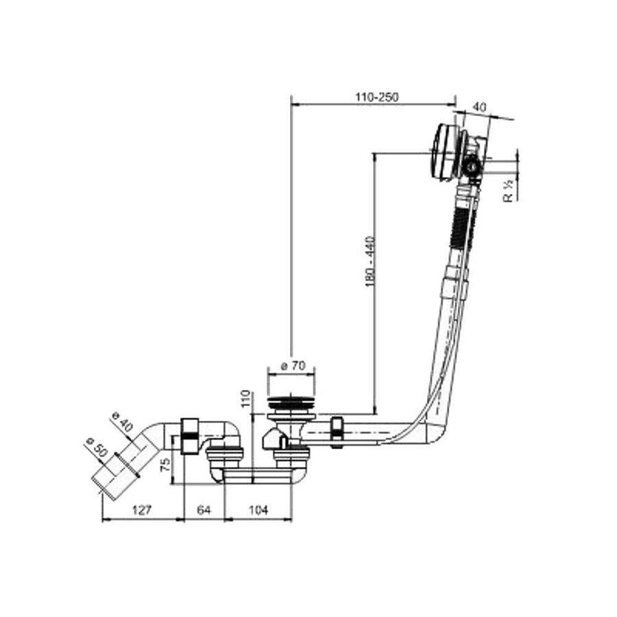 Luxe Badplug-Overloop Combinatie Met Badvulfunctie Chroom