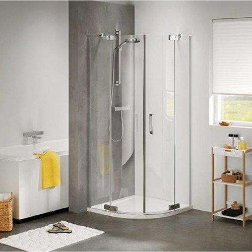 Douchecabine Kwartrond 2 swingdeuren 90x90cm Zilver Hoogglans Helder glas
