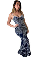 Unique Dresses Joeliyn Navy Silver Dress