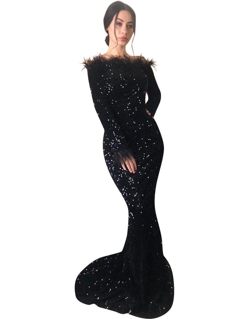 Unique Dresses Natasha feathers Dress