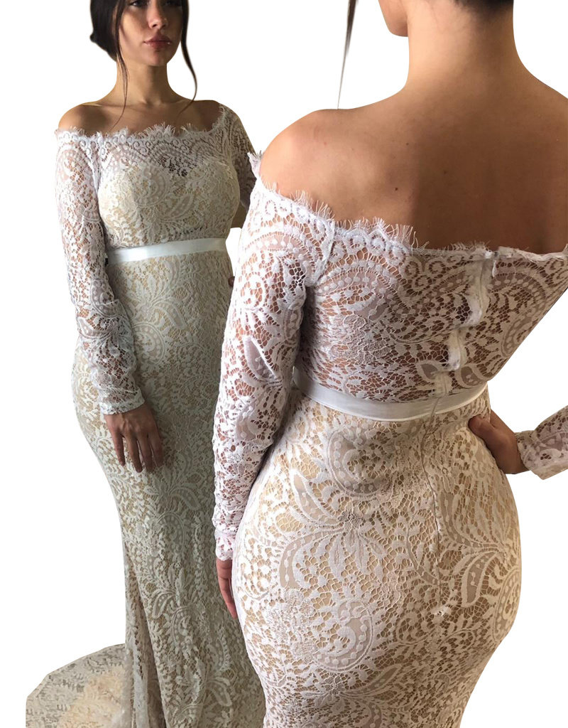 Unique Dresses Maja White Nude  Lace Dress
