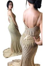 Unique Dresses Helin Nude Gold Dress