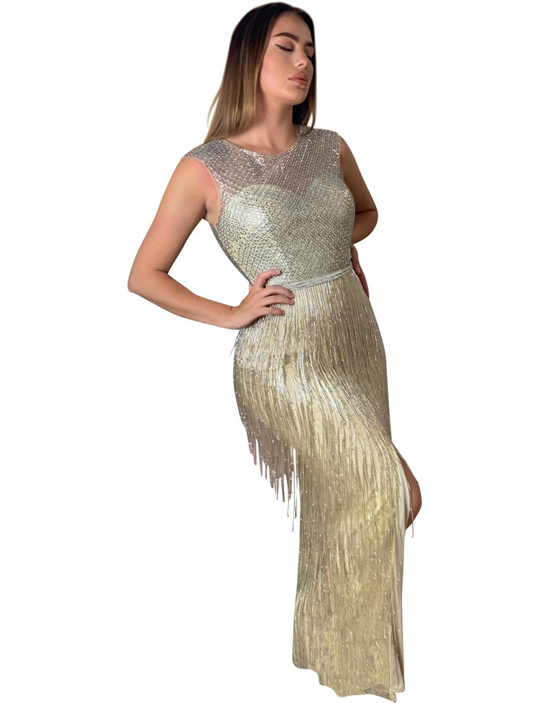 Unique Dresses Arjana - Nude Silver