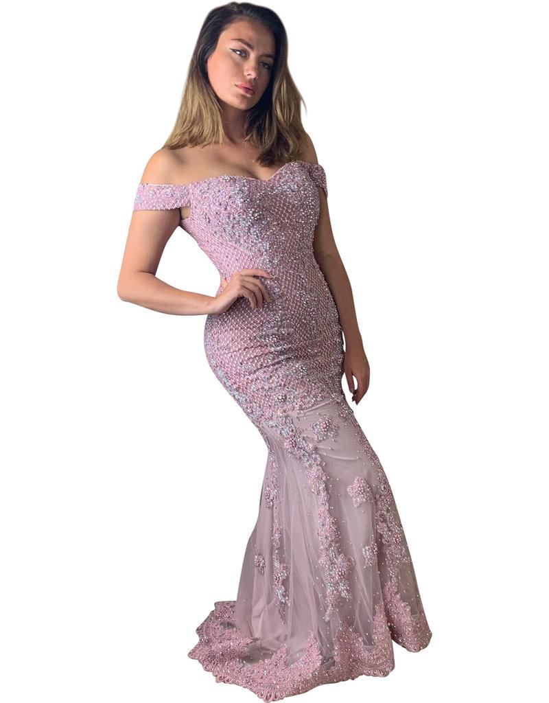 Unique Dresses Vittoria Pink Pearls  Dress